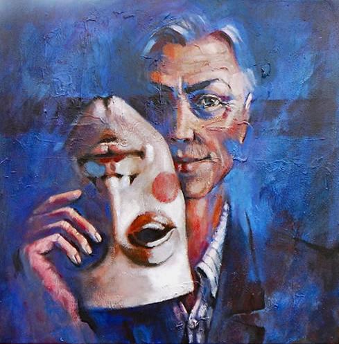Theatrical Mask - Actor - Turnaround - Surrey Artist Ronnie Ireland - Guildford Art Society, Farnham Art Society, Woking Art Society
