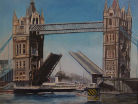 Tower Bridge London With Paddle Steamer - Rodney Thomas Annetts - Woking Society Of Arts - Surrey Artists Gallery