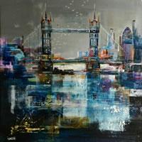 Tower Bridge London – Nagib Karsan – Artist in Watercolours, Mixed Media and Collage – Dorking Group of Artists