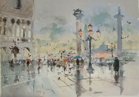 Venice, Italy - Spring Showers - Kim Page - Paintings in Watercolour and Oil - Surrey Art Gallery - England