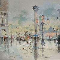 Venice, Italy – Spring Showers – Kim Page – Paintings in Watercolour and Oil – Surrey Art Gallery – England