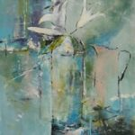 White Lilies Set in Blue – Kim Page – Paintings in Watercolour and Oil – Surrey Art Gallery – England