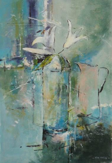 White Lilies Set in Blue - Kim Page - Paintings in Watercolour and Oil - Surrey Art Gallery - England