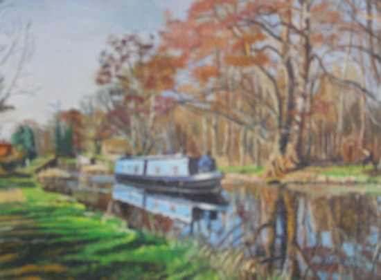 Winter Cruise on the River Wey - Rodney Thomas Annetts - Woking Society Of Arts - Surrey Artists Gallery