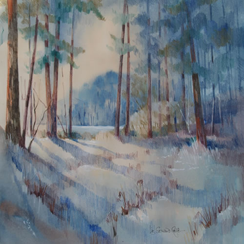 Winter Light - Turfhill, Surrey - Liz Seward S.W.A. S.F.P. Royal Institute of Painters in Watercolour and The Society of Women Artists
