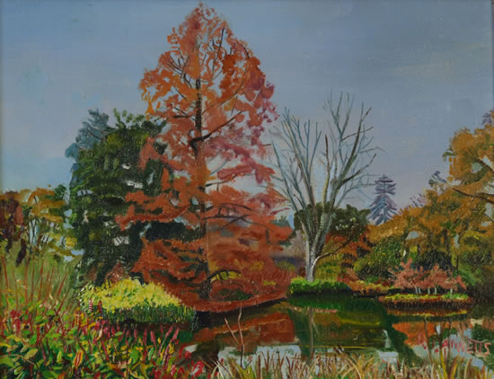 Wisley Gardens, Surrey - Amber Tree - Rodney Thomas Annetts - Woking Society Of Arts - Surrey Artists Gallery