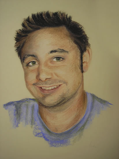 Young Man in Purple - Pencil, Charcoal and Pastel Portrait - Heidi Meadows - Surrey Art Gallery