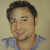 Young Man in Purple – Pencil, Charcoal and Pastel Portrait – Heidi Meadows – Surrey Art Gallery