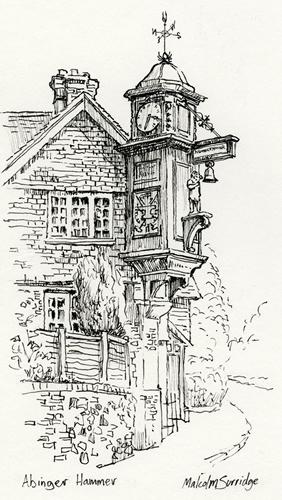 Abinger Hammer Clock - Surrey Village - Malcolm Surridge - Artist - Landscape Paintings - Surrey Artists Gallery