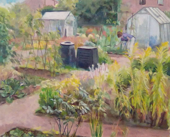 Allotments and Greenhouses - Gardening - Landscape - Margaret Harvey - Surrey Artist - Painter in Oil, Acrylic and Watercolour