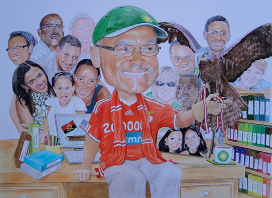 Art - Business Retirement Gift 'Caricature' Commissioned by BP - David Fisher - Detailed Caricatures, Portrait & Landscape Artist - Surrey Gallery