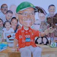 Art – Business Retirement Gift 'Caricature' Commissioned by BP – David Fisher – Detailed Caricatures, Portrait & Landscape Artist – Surrey Gallery