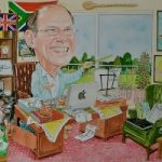 Art – Corporate Caricature Commissioned by Business (BP) as Retirement Gift – David Fisher – Commissions – Caricature Artist – Surrey Gallery