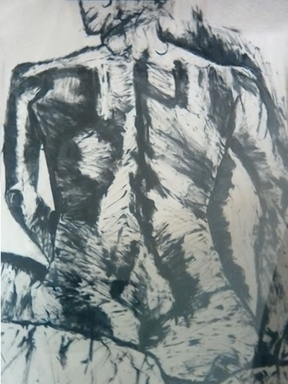 Art Gallery - Sitting Lady - Drawing - by Surrey Artist Karen Marie Budge