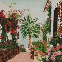 Beautiful Floral Garden – Playa de Santiago, Canary Islands – Florenca (June Martin) – Surrey Artists Gallery