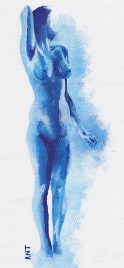 Blue Nude Woman - Rachael Tan - Surrey Artist - Painting in Acrylics on Canvas and Drawings in Charcoal and Pencil