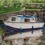 Boat Emerging from Bowers Lock on the River Wey – David Fisher – Commissions – Landscape Artist – Surrey Gallery