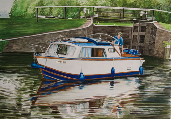 Boat Emerging from Bowers Lock - River Wey - David Fisher - Commissions - Landscape Artist - Surrey Gallery
