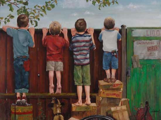 Boys Looking Over the Fence - Sussex Artist - William E. Rochfort - Fine Art Oil Paintings and Limited Edition Fine Art Prints