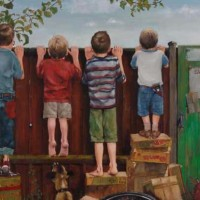 Boys Looking Over the Fence – Sussex Artist – William E. Rochfort – Fine Art Oil Paintings and Limited Edition Fine Art Prints