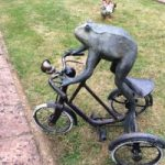 Bronze Sculpture – Frog on a Tricycle – Margaret Harvey – Surrey Artist and Sculptor