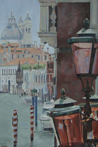 Canal - Venice Lamps, Italy - Mark Dorsett - Watercolour and Oil Paintings - Littleton Artists Group