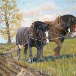 Carthorses – Old Time Ploughing – W.R. Kimber – Surrey Artist Bill Kimber – Byfleet Art Society
