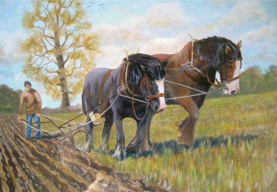 Carthorses - Old Time Ploughing - W.R. Kimber - Surrey Artist Bill Kimber - Byfleet Art Society