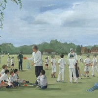 Chiddingfold Cricket Club – Surrey – England – Mark Dorsett – Watercolour and Oil Paintings – Littleton Artists Group