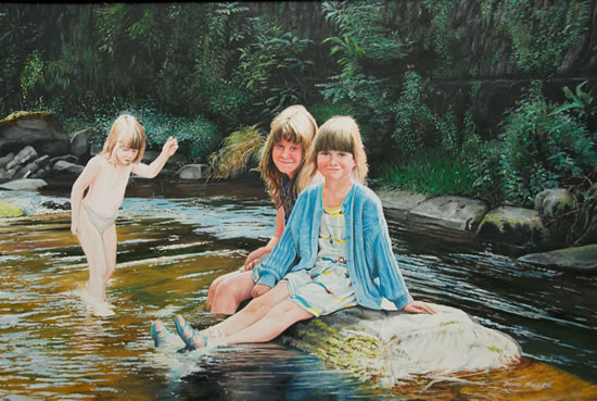 Children Paddling in River Lyn near Lynmouth, Exmoor - David Fisher - Commissions - Landscape Artist - Surrey Gallery