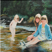 Children Paddling in River Lyn near Lynmouth, Exmoor – David Fisher – Commissions – Landscape Artist – Surrey Gallery