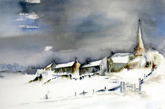 Church in Snow - Deep, Crisp and Even - Surrey Artist Terence J. Kitson - Paintings in Watercolour and Oil - Byfleet Art Group