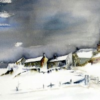 Church in Snow – Deep, Crisp and Even – Surrey Artist Terence J. Kitson – Paintings in Watercolour and Oil – Byfleet Art Group