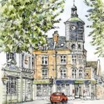 Clock Tower, Brighton Road, Surbiton – Malcolm Surridge – Artist – Landscape Painting in Pastels – Surrey Artists Gallery
