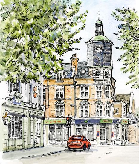 Clock Tower, Brighton Road, Surbiton - Malcolm Surridge - Artist - Landscape Painting in Pastels - Surrey Artists Gallery