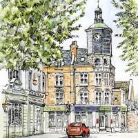 Clock Tower, Brighton Road, Surbiton – Malcolm Surridge – Artist – Landscape Painting in Pastels – Surrey Artists Gallery