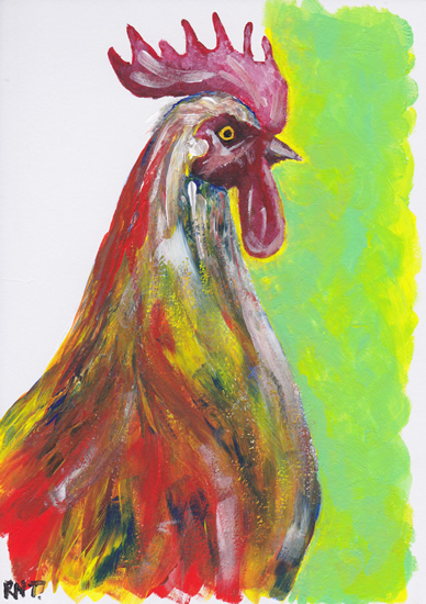 Cockerel - Chicken - Rachael Tan - Surrey Artist - Painting in Acrylics on Canvas and Drawings in Charcoal and Pencil