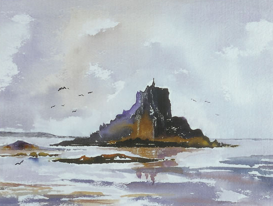 Cornwall Seascape - St Michael's Mount - Surrey Artist Terence J. Kitson - Paintings in Watercolour and Oil - Byfleet Art Group