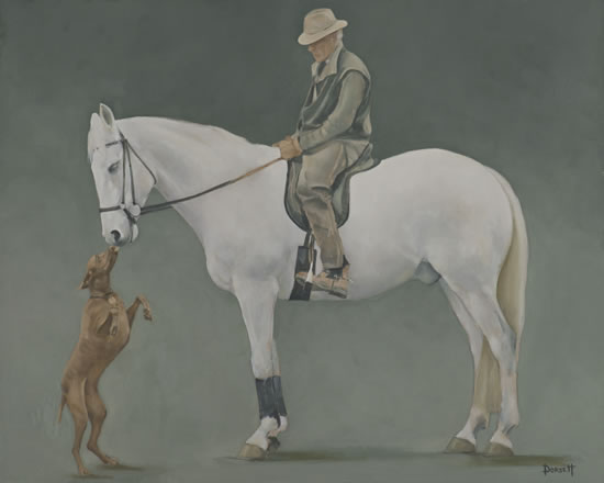 Dog, Horse and Rider - Friends - Mark Dorsett - Watercolour and Oil Paintings - Littleton Artists Group