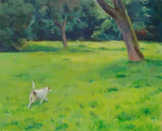 Dog In A Hurry - Landscape - Margaret Harvey - Surrey Artist - Painter in Oil, Acrylic and Watercolour