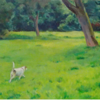 Dog In A Hurry – Landscape – Margaret Harvey – Surrey Artist – Painter in Oil, Acrylic and Watercolour