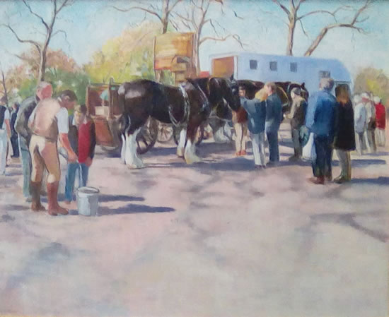 Dray Horses after the Harness Horse Parade - Landscape - Margaret Harvey - Surrey Artist - Painter in Oil, Acrylic and Watercolour