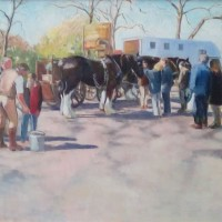 Dray Horses after the Harness Horse Parade – Landscape – Margaret Harvey – Surrey Artist – Painter in Oil, Acrylic and Watercolour