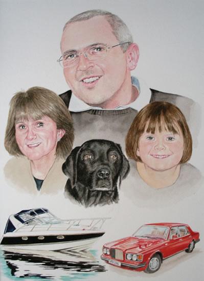 Family Portrait - David Fisher - Commissions - Portrait Artist - Surrey Gallery