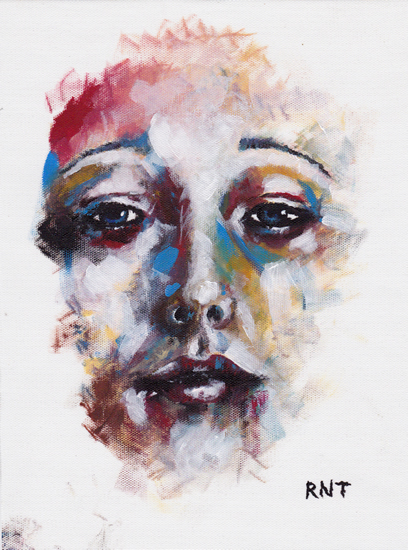 Female Face - Rachael Tan - Surrey Artist - Painting in Acrylics on Canvas and Drawings in Charcoal and Pencil