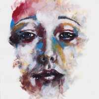 Female Face – Rachael Tan – Surrey Artist – Painting in Acrylics on Canvas and Drawings in Charcoal and Pencil