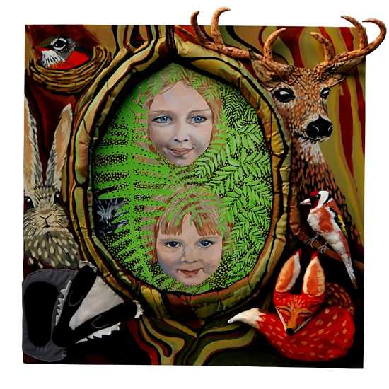 Forest Kids - Katwish - Katie Griffiths - Portrait Artist - Oils, Acrylics and Textile Sculpture