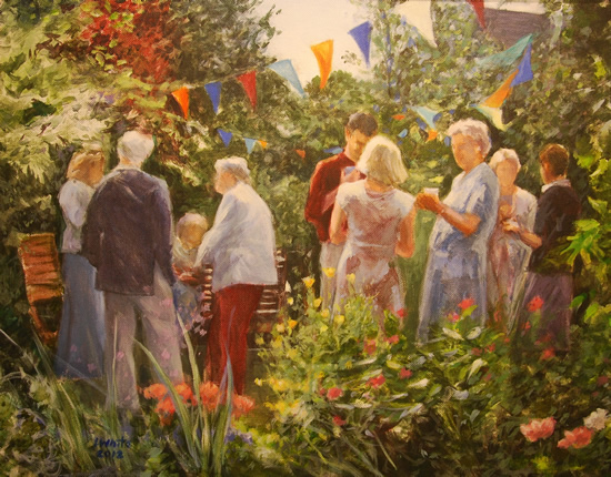 Garden Party - Iain White - Surrey Artist - Portraits and other Paintings in Acrylic, Pastel and Conte