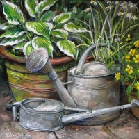 Gardener's Friends – Hosta Plants and Watering Can – Malcolm Surridge – Artist – Landscape Paintings – Surrey Artists Gallery