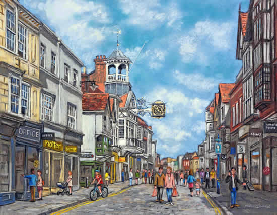 High Street, Guildford - Malcolm Surridge - Artist - Landscape Painting in Pastels - Surrey Artists Gallery